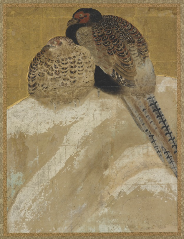 Two pheasants on a snow bank - Momoyama period (1573 - 1615), Japan. | Freer & Sackler Galleries | Click image for larger view.
