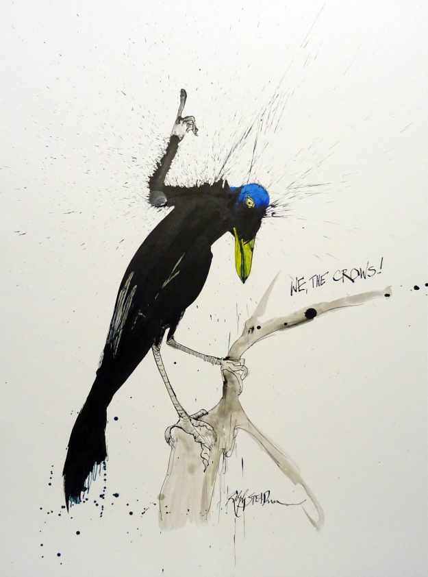 American Crow. Illustration: Ralph Steadman. Click image for larger view.