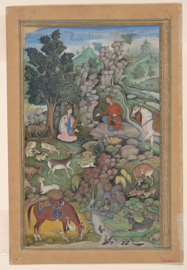 """Bahram Gur Sees a Herd of Deer Mesmerized by Dilaram' s Music"", Folio from a Khamsa (Quintet) of Amir Khusrau Dihlavi. Attributed to Miskin (active ca. 1570–1604). Folio from an illustrated manuscript, 1597–98, India. Click image for larger view."